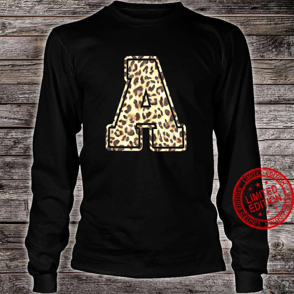 Letter A Initial Leopard Cheetah Print Trendy Watercolor Shirt long sleeved
