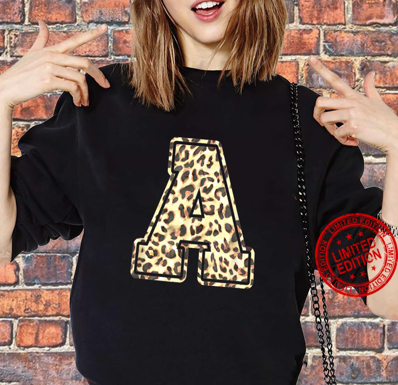 Letter A Initial Leopard Cheetah Print Trendy Watercolor Shirt sweater